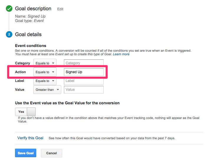 Google Analytics goals based on events