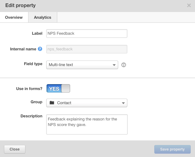 NPS Feedback Property in HubSpot