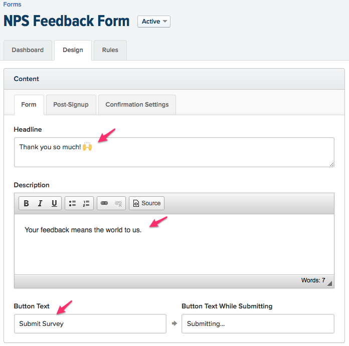 Drip NPS Feedback Form