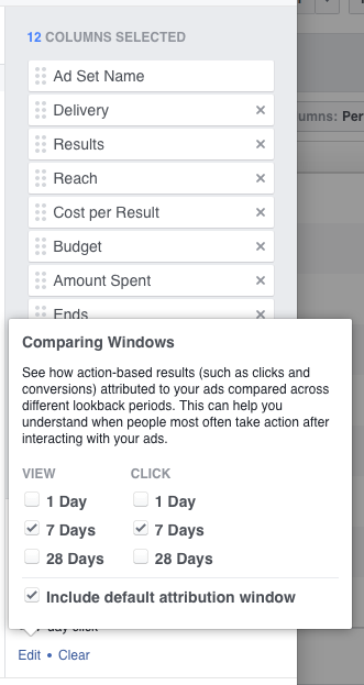 Comparing Facebook Attribution Windows