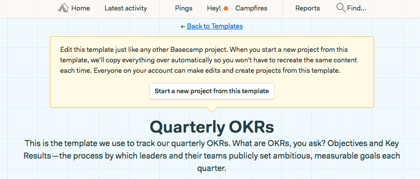 OKR Template in Basecamp